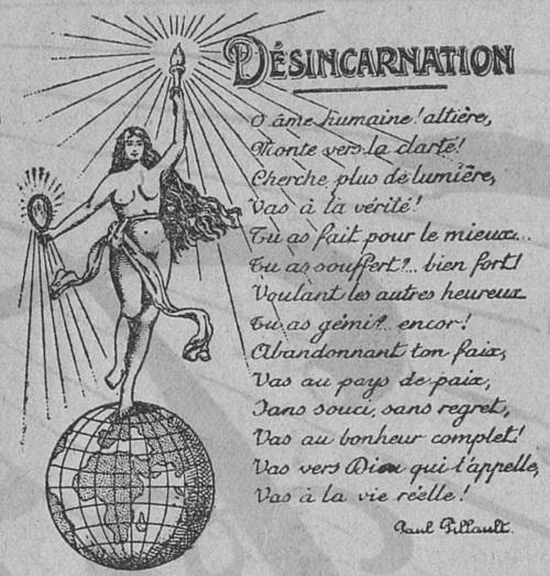 Désincarnation (poème de Paul Pillault)(Le Franterniste, 29 novembre 1912)