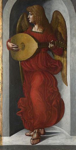 Peinture d'un ange dans une alcove, drapé de rouge et jouant du luth.