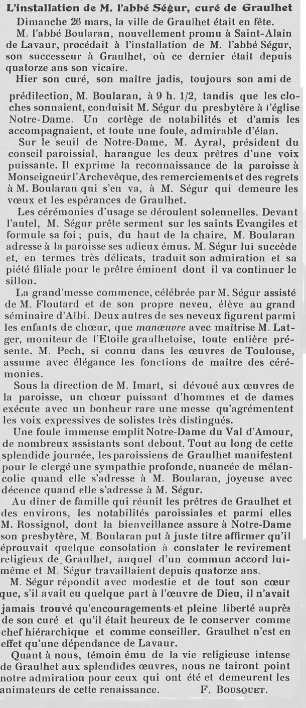 - 26 mars 1933 - Abbé Segur Curé de Graulhet