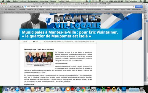 """- Article sur Mantes Actus du 2 février 2014 : Municipales à Mantes-la-Ville : pour Éric Visintainer, « le quartier de Maupomet est isolé »"""""""