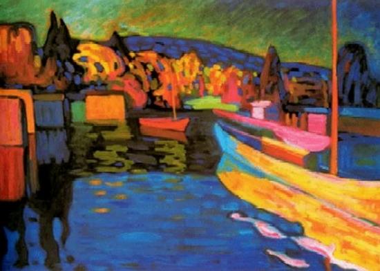 Wassily Kandinsky, Automne, paysage avec bateaux, 1908