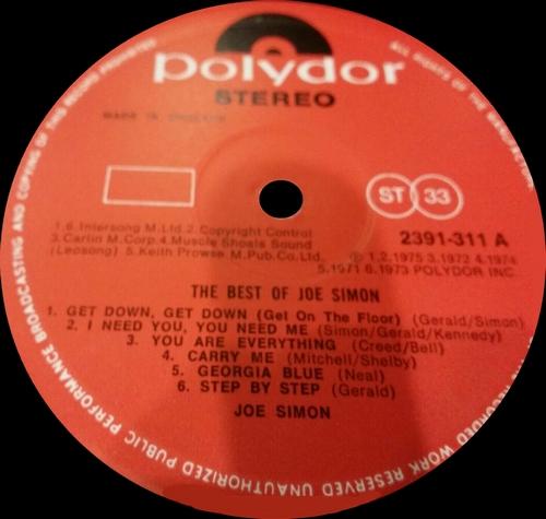 "Joe Simon : Album "" The Best Of "" Polydor Records 2391-311 [ UK ] en 1977"
