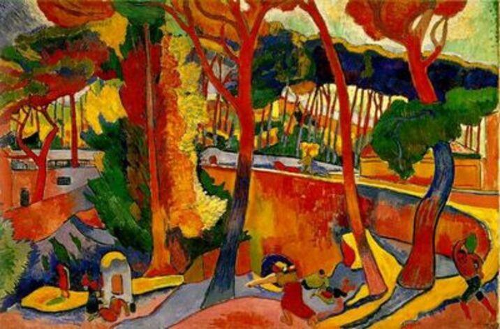 André Derain, Route tournante à l'Estaque, 1906. Huoe sur toile, 130 cm sur 195 cm.