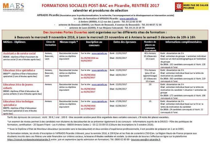 FORMATIONS SOCIALES POST‐BAC en Picardie, RENTRÉE 2017. Calendrier et procédures de sélection