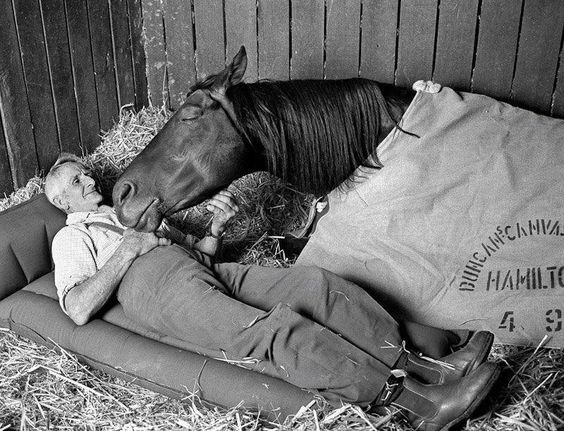 This is the sweetest thing I have Ever seen. It makes me sad for some reason.  Maybe because he will sleep in the hay, not a bed, for his horse.