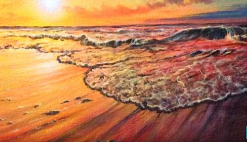 Dessin et peinture - vidéo 2716 : Comment peindre un coucher de soleil sur le rivage ?  acrylique huile.