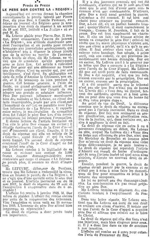 Le père Dor contre ''La Région'' (Journal de Charleroi, 6 février 1920)(Belgicapress)