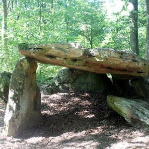 Dolmen de Bué constitué d'une dalle de 4,70m de long et 3m de large