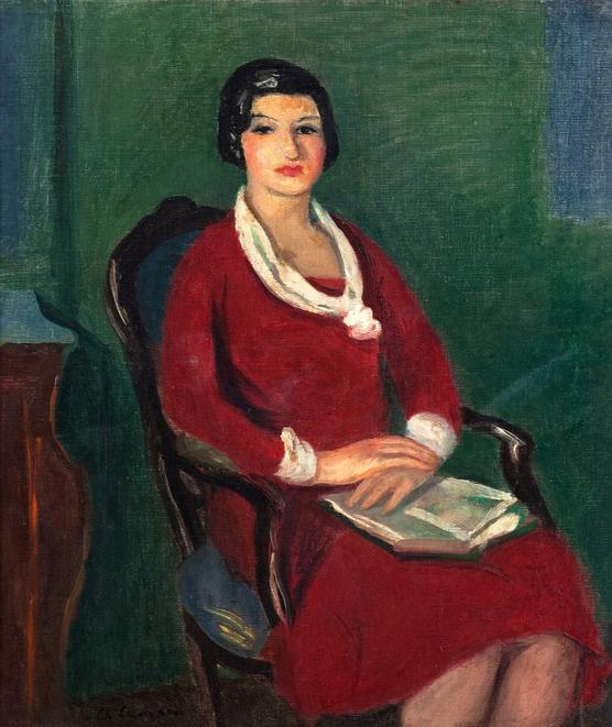 Femme assise à la robe rouge, 1914 Huile sur toile 59 x 52 cm
