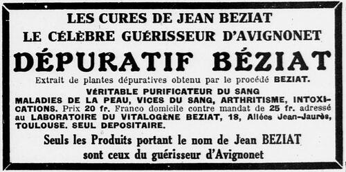 Dépuratif Béziat (L'Ouest Éclair 11 août 1926)