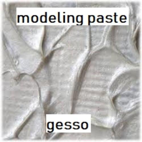 """Dessin et peinture - vidéo 2884 : Comment fabriquer et apprendre à utiliser le """" modeling paste"""" ou le gesso ? - pâtes à texturer."""
