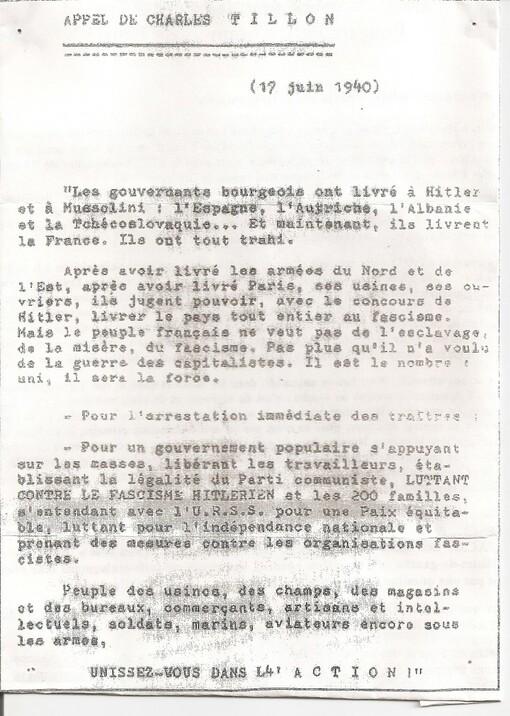 Le 17 juin 1940 l'appel à la résistance lancée en France par Charles Tillon, dirigeant du PCF clandestin.(IC.fr-17/06/19)