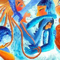 Jeux bleus - Acrylique sur toile - 1,50 x 0,60