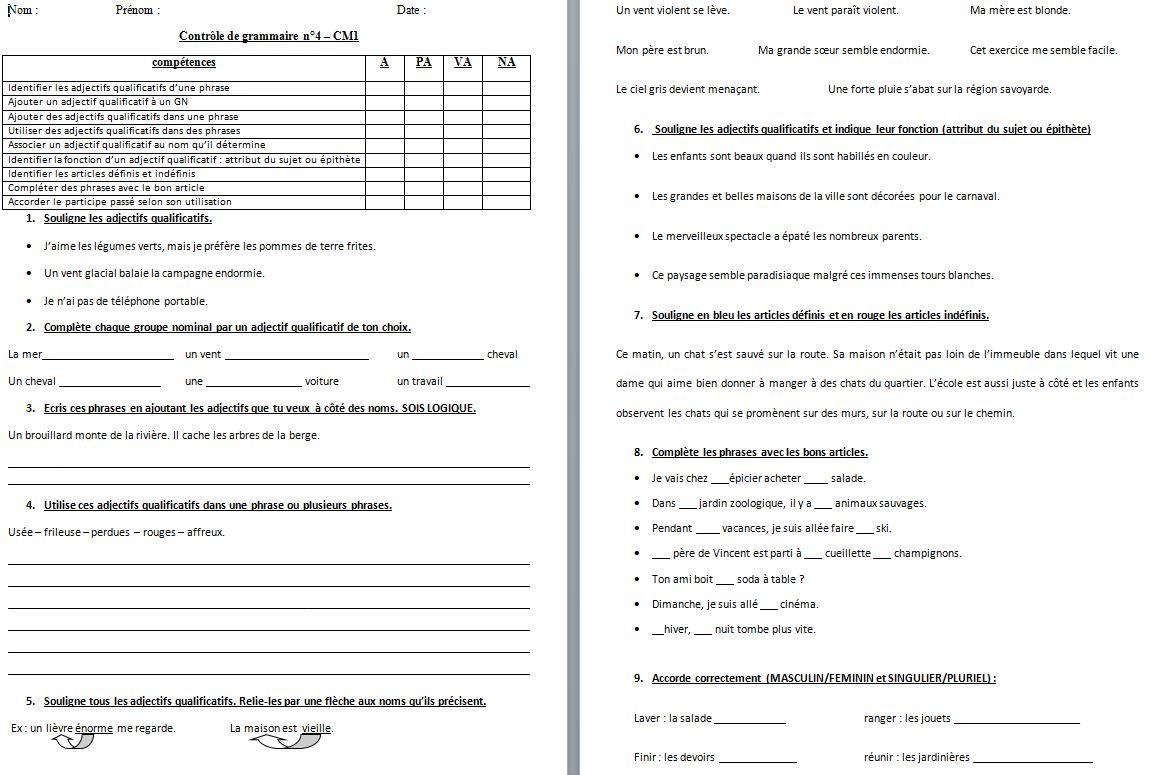 Francais Evaluations Cm1 Periode 4 Grammaire Un Petit Coin De Partage