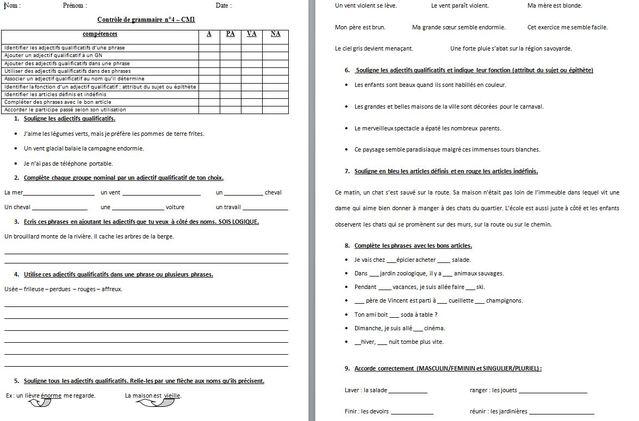 français : évaluations CM1 période 4 grammaire