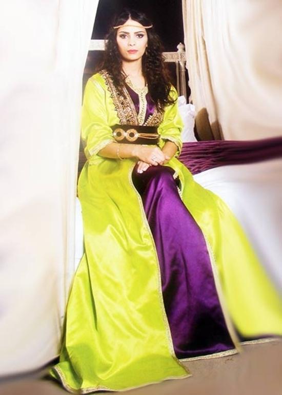 Takchita-marocain-vert-et-mauve- de la collection 2015 pas cher et sur mesure pour votre mariage TAK-S871