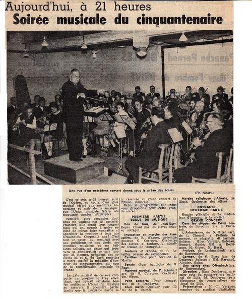 l'UNION MUSICALE : la soirée du cinquantenaire