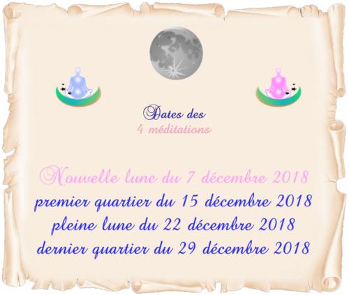 Dates des 4 méditations de décembre 2018