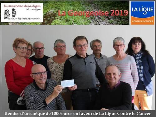 Remise de chèque 1000 € pour La Ligue contre le Cancer