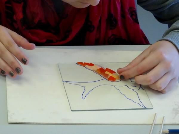 L'atelier mosaïque proposé par le Musée du Pays Châtillonnais-Trésor de Vix a ravi de  jeunes futurs artistes !