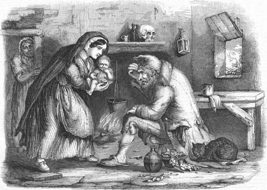 Un guérisseur et son chat noir. Gravure d'imagerie populaire