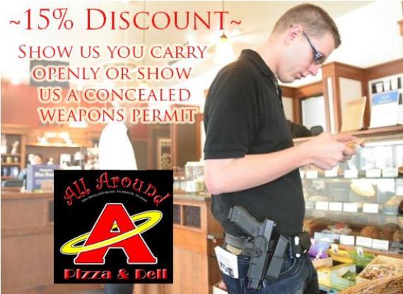 Cette pizzeria offre une reduction a tous les detenteurs d'armes