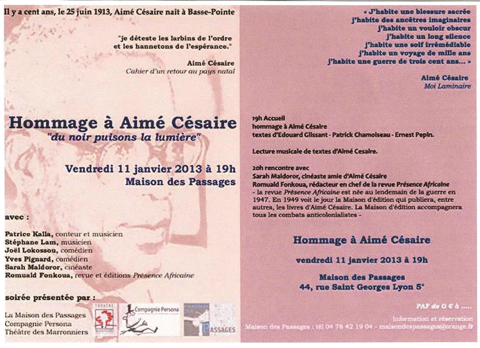 Lecture musicale de textes d'Aimé Césaire au théâtre des Marronniers le 11 janvier 2013