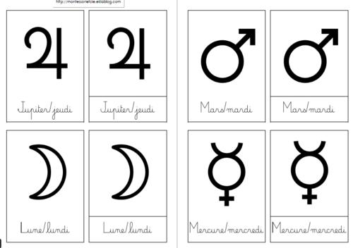 [Nomenclatures] Jours de la semaine/planète/symboles