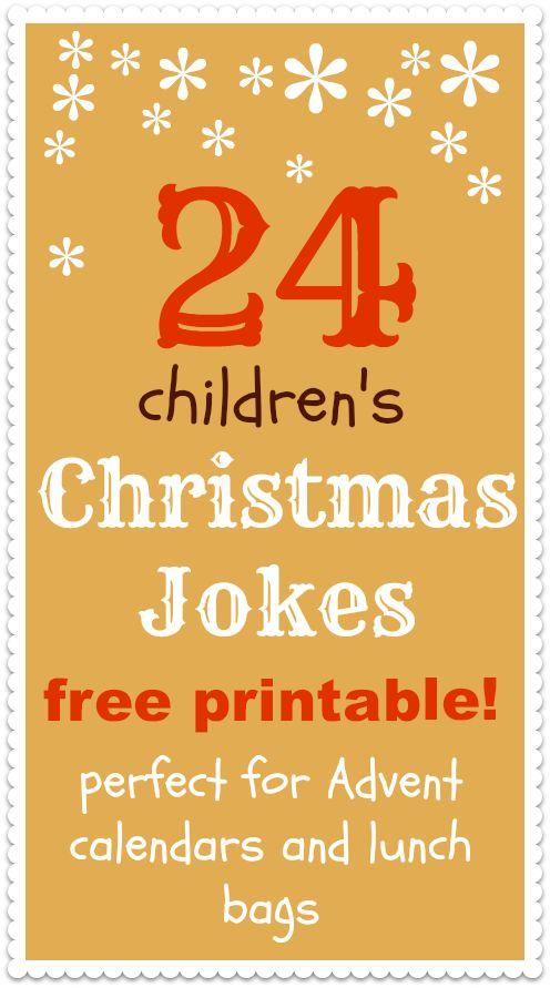 Christmas jokes for kids printable :: Advent calendar printable for kids :: kids lunch bag printable:
