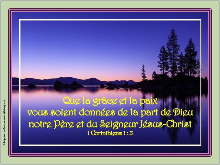 Que la grâce et la paix vous soient données - 1 Corinthiens 1 : 3