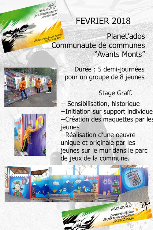 """stage graff avec Planet'ados """"Communauté de communes Avant-Monts"""" Murviel lés Béziers (34) oeuvre collective sur le mur du parc de jeu. Février 2018 les photos : http://www.jerc-tbm.com/"""