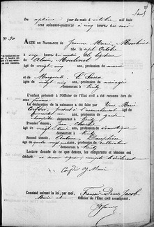Acte naissance Jeanne Moulinet
