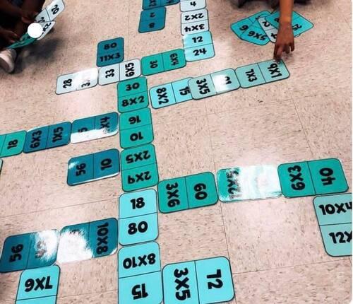 Domino géant sur les tables de multiplication