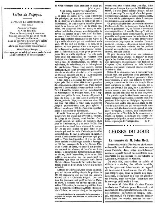 Lettre de Belgique (L'Essor, Lausanne, 11 février 1911)
