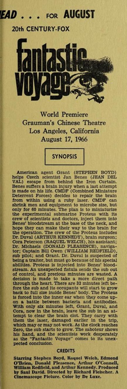 FANTASTIC VOYAGE BOX OFFICE USA 1966