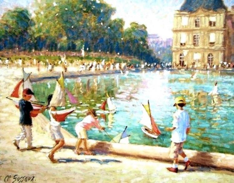 Claude Fossoux. Les enfants et le grand bassin du Jardin du Luxembourg.
