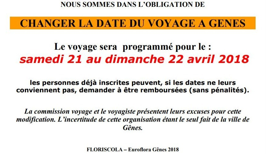 VOYAGE : Salon Euroflora à Gènes 21 & 22 avril 2018 - Attention inscription avant 21/12/17
