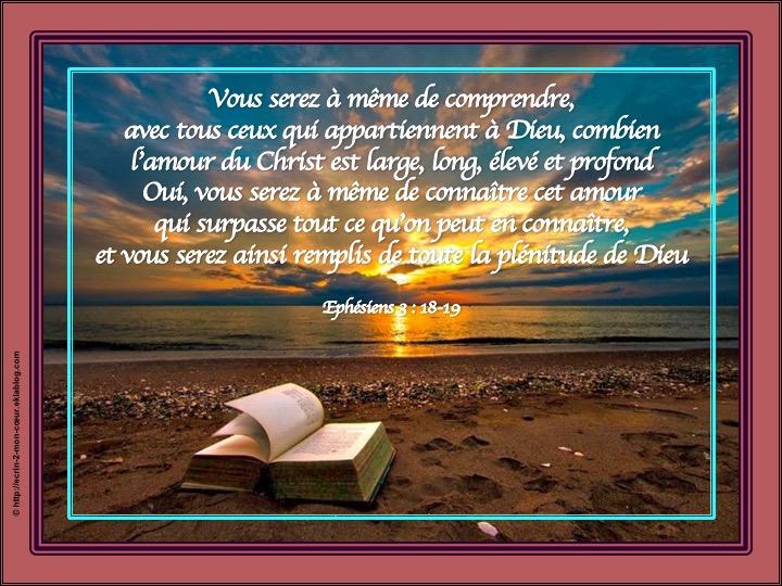 Vous serez ainsi remplis de toute la plénitude de Dieu - Ephésiens 3 : 18-19