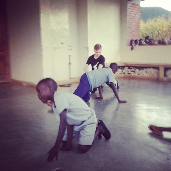 Here is my son teaching break dance to orphans at Home Of Hope on the porch of a dormitory I built.