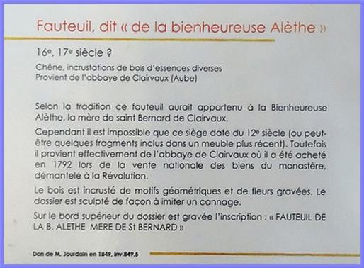 Le fauteuil, dit d'Aleth de Montbard, au musée de Vauluisant à Troyes...