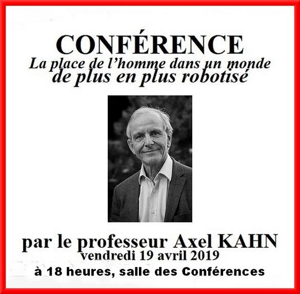Le professeur Axel Kahn viendra donner une conférence à Châtillon sur Seine, pour l'association des anciens élèves du Lycée et du Collège