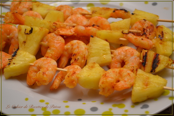 Brochettes de Crevettes - Ananas