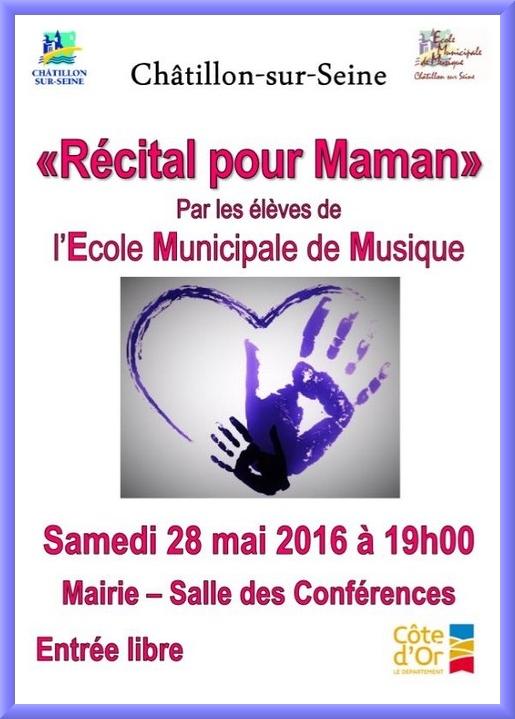 """Un concert """"Pour Maman"""" par l'Ecole Municipale de Musique samedi 28 mai..."""