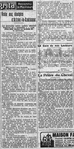 Visite aux disciples d'Antoine-le-Guérisseur (L'Intransigeant, 30 juillet 1912)