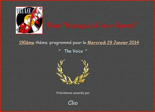 """Thème pour """"Musique à coeur ouvert """" 190 - """"The Voice"""""""