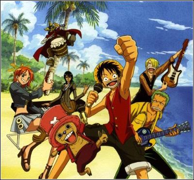 L'équipage de Luffy sur la plage