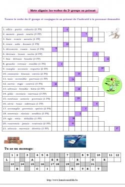 Mots alignés verbes du 2e groupe au présent de l'indicatif