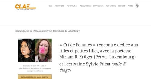 """""""Cri de femme"""" 2017 à Luxembourg"""