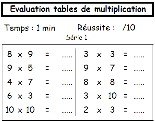 Contr le hebdomadaire des tables de multplication la for Table de multiplication de 6 7 8 9