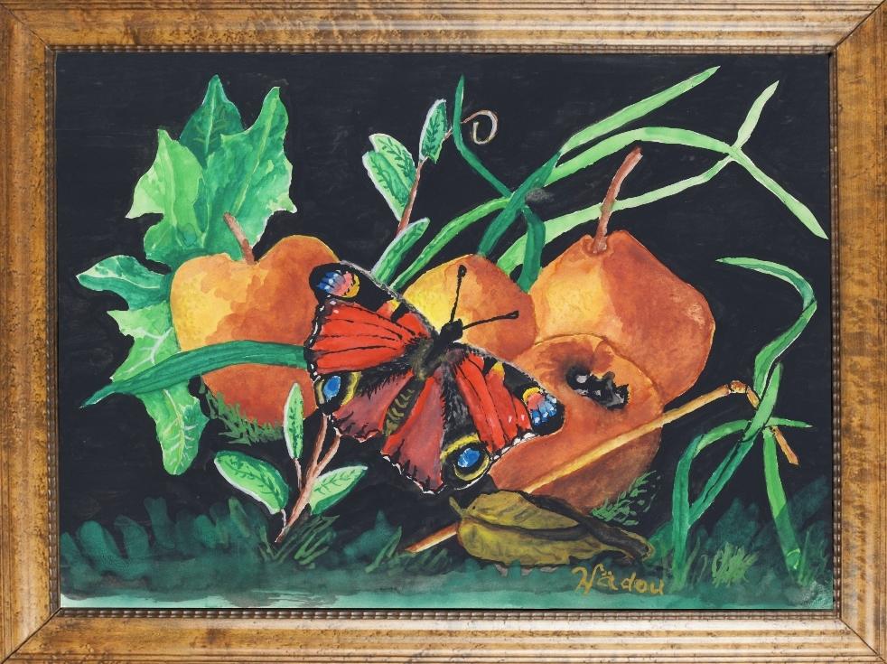 Un papillon s'accomode de l'automne en tableau aquarelle